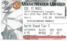 2002/2003 Manchester United v FC Basel Champions League Ticket
