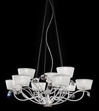 Lampadario classico di design foglia argento e paralumi BELL dolce vita 3012/L9L