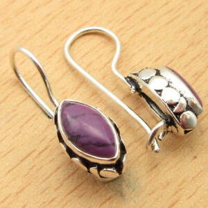 925 Silver Plated Purple Copper Turquoise Earrings 2.0 cm Engagement Jewelry