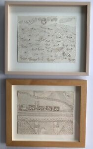 """Rare: 2 """"Jogi Art"""" India folk art-style drawings, framed"""