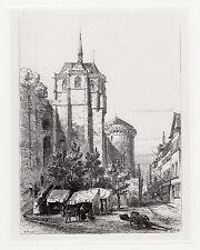 """ERNEST GEORGE 1800s ORIGINAL Etching """"Chapel of St. Hubert"""" Framed SIGNED COA"""