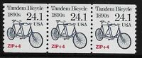 US Scott #2266, Coil of 3 1988 Tandem Bicycle 24.1c FVF MNH