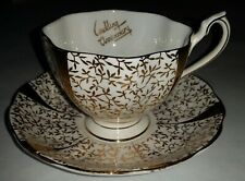 """VINTAGE QUEEN ANNE GOLD LACE """"WEDDING ANNIVERSARY"""" BONE CHINA MADE IN ENGLAND-"""