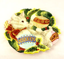 Fitz & Floyd Essentials Christmas Cat Kitten Canape or Wall Plate Wall Decor