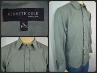 Kenneth Cole NY Green L/S Btn Front Dress Shirt Mens 16 x 34/35 Linen SUMMER