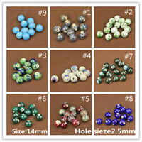 10pcs Round Ceramic Porcelain Charm Big Hole Loose Spacer Beads Jewelry Findings