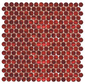 """Cayenne Decorative Coral Shimmer 3/4"""" Penny Round Glass Mosaic Wall Tile"""