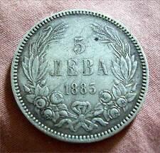 BULGARIA -ALEXANDER I (1879-1886) SOLID SILVER 5 LEVA 1885 -KM # 7 -V.F