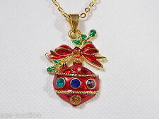 Christmas Gift Ornament Rhinestone pendant Gold Chain Necklaces