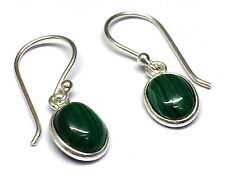 Handmade in 925 Sterling Silver, Real Malachite Oval Drop Earrings With Bag