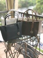Michael Kors Medium Large Leather Shoulder Tote Bag Handbag Purse Black Brown MK