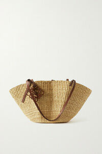 LOEWE Shell leather-trimmed woven raffia tote, Beige, New with tag!!!