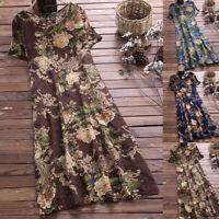 Plus Size Women Floral Boho Midi Dress Ladies Short Sleeve Maxi Sundress Holiday