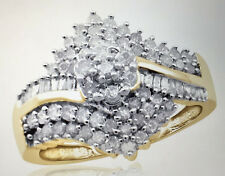 Jewelonfire 1 00 CT White Diamond Cluster Bypass Ring Size 7