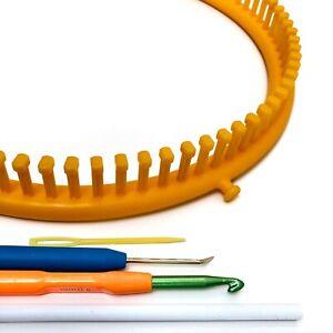 KnitUK Round Yellow Knitting Loom. 82 pegs Fitted (Medium Gauge Loom).