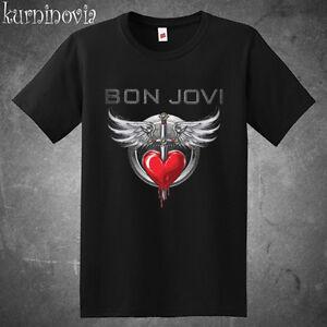 Bon Jovi Tour Logo Men's Black T-Shirt Size S to 3XL