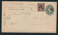 1898 Registered 2c Entire with 8c Sherman - Victoria, OH to Columbus, OH
