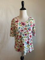 TIME AND TRU Top Women's Large L Floral Shirt Blouse Short Sleeve White Pink
