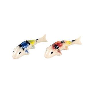 Miniature Ceramic  Koi Carp Figurine Ornament (Pack of Two)