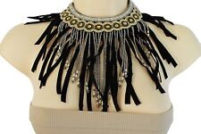 Women Long Black Fringes Fashion Necklace Silver Metal Chain Gold Beads African