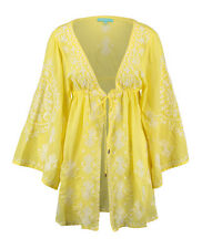 MELISSA ODABASH Hazel Embroidered Yellow Cover Up Kimono BNWT