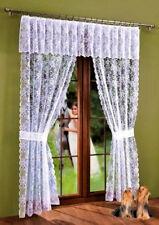 Set Lace Net Curtains Panel White Window Door Fly Screen Tassels Fringe Blind