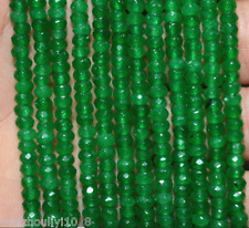 "Natural! 2x4mm Faceted Green Emerald Abacus Loose Beads Gemstone 15"" AAA"