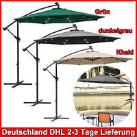 3m Alu Ampelschirm Sonnenschirm Gartenschirm mit LED Marktschirm UV-Schutz DHL