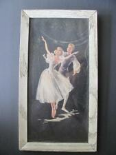 Ballerina Ballet Dancer Couple On Black Background August Albo? Vtg Wall Hanging