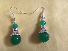 Tibetan Silver 4x1cm Green Jade Hook Drop Earrings Lady Valentine Birthday Gift