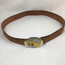 Vtg Levis Brown Leather Belt 12673 Sz 34 Ford Tractor Belt Buckle Hoover Mfg