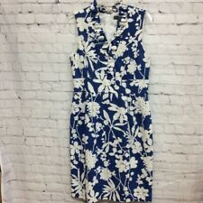 Jessica Howard Womens A Line Dress Blue Floral Lined V Neck Sleeveless Ruffle 8
