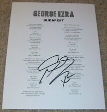 GEORGE EZRA SIGNED AUTOGRAPH BUDAPEST LYRIC SHEET w/PROOF WANTED ON VOYAGE