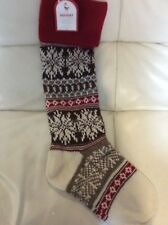 Pottery Barn Kids Classic Fair Isle Snowflake Stocking No Mono Knitted Red Brown
