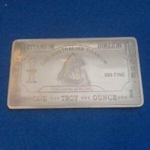 1 TROY OUNCE/OZ .999 Pure TITANIUM Great White Shark Bar/INGOTS/Bullion
