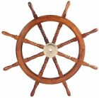 Nautical Hand Crafted 24 Inches Brass Wooden Ship Wheel | Pirate's Wall Décor