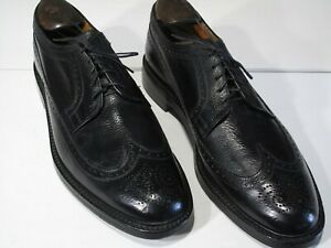 Vtg Ambassador Shoes 12C Black Scotch Grain Longwings Made in England, Goodyear