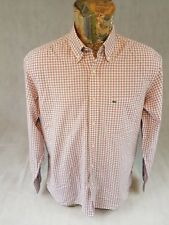 Lacoste Mens Shirt Pink Check Plaid Long Sleeve Logo 42