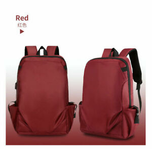 New Fashion Mens School Oxford Backpack USB Charger Laptop Travel Bag