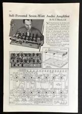 7 watt Tube Amplifier Self powered 1937 HowTo build Schematics Info
