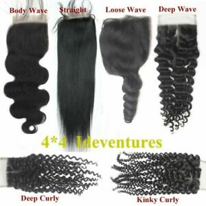 3WAYS/MIDDLE/FREE PARTING CAMBODIAN LACE CLOSURE 4X4 ALL TEXTURES 12AA FAST SHIP