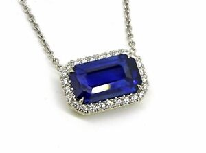 Emerald Blue Sapphire Halo Engagement Pendant in 14K White Gold Plated Silver