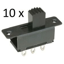 10 x Miniature Slide Switches DPDT 6 Pin Solder Tags 2 x Fixing Holes