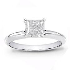 Engagement Ring 14k White Gold 1/2ct Princess Cut Solitaire Diamond