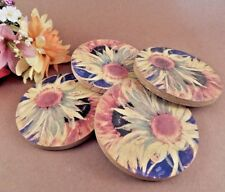 "Coasters Thirstystone Stoneware Barware 4"" Round Sunflower Beverage Serving"