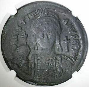 539 NGC VF Justinian I Byzantine Follis Cyzicus Mint Year 13 Coin  (21091902C)