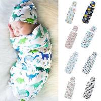 Newborn Infant Baby Toddler Swaddle Wrap Blanket Sleeping Bag Sleep Sack +Hat