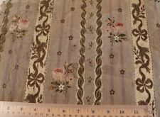 "Antique French c1870 Silk Rose & Gold Metallic Bows Brocade Fabric~22""X16""~Dolls"