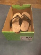 St. John's Bay Women's 6M Zandora Black Sandals/Thongs With Buckle NWT