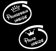 Baby Kinder Auto Aufkleber Prinzessin oder Prinz inside Schriftzug Wunschtext 27